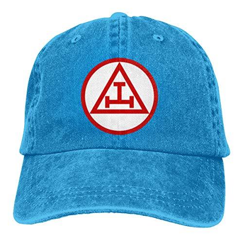 KuaiLeZai Royal Arch Masonry Men Cap Denim Cotton Adjustable Hat Custom Funny Fishing Visor Ash Blue (Royal Blue Orchids)