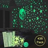 HOMMINI Leuchtsticker Wandtattoo, 435 Leuchtsterne/Leuchtpunkte selbstklebend und 30cm Mond Wandsticker für Sternenhimmel- selbstklebend und fluoreszierend Leuchtaufkleber für Kinderzimmer (435 Stück Stern + Punkt + Mond)