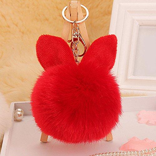 Bluelans® Schlüsselanhänger aus Kunstfell Kaninchen Fellbommel Bommel Geburtstagsgeschenk Taschenanhänger (Rot)