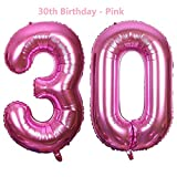 Meowoo Luftballon 30 Geburtstag Helium 40 Zoll Folienballon Zahl 30 Geburtstag Party Dekoration Supplies(Gold,Silber,Rosa,Rose,Blau (Rosa)