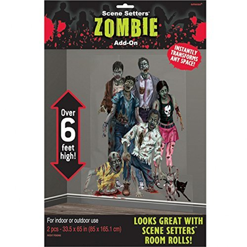 Halloween Zombies Scene Setter Add-Ons Plastic Decorations 1.65m X 85cm by (Halloween Setter Scene)