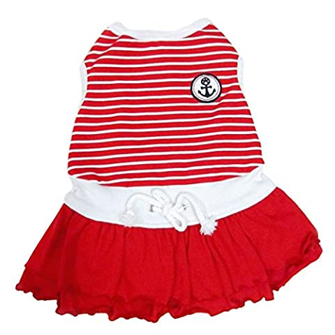 Pet Brands Happy Puppy Sporty Sailor Dog Dress (X-Small) (Red)
