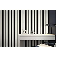 Carta da parati wallpaper Strisce verticali luce di sfondo di TV di vasta carta da parati in pareti di sfondo in bianco e nero, nero moderno camera da letto minimalista salotto sala da pranzo , type 2 - Mouse Pranzo