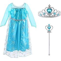 Disfraz de Princesa Elsa - Reino de Hielo - Vestido de Cosplay de Carnaval, Halloween y la Fiesta de Cumpleaños