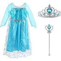 Vicloon - Disfraz de Princesa Elsa - Reino de Hielo - Vestido de Cosplay de Carnaval, Halloween y la Fiesta de Cumpleaños - 130