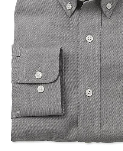 Savile Row Men's Dark Charcoal Brushed Twill Smart-Casual Classic Fit Single Cuff Shirt Black White