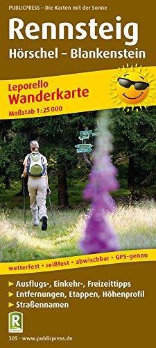 Rennsteig, Hörschel - Blankenstein: Leporello Wanderkarte mit Ausflugszielen, Einkehr- & Freizeittipps, wetterfest, reissfest, abwischbar, GPS-genau. 1:25000 (Leporello Wanderkarte / LEP-WK)