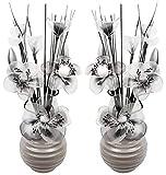 assorti Paire du Noir et blanc fleurs artificielles dans un vase Gris, décorations de table, accessoires pour la maison, cadeaux, décorations, hauteur 32cm
