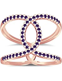 Silvernshine Halo Twist Amethyst CZ Diamond Engagement Ring 14k Rose Gold Plated Bridal Ring Set