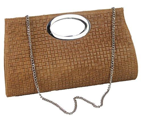 Made in italy sac à main clutch bag styl bella collier tressé en cuir (cognac)