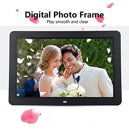 Acouto 12inch 1280X800 Digitaler Bilderrahmen Uhr Musik Video Player mit Fernbedienung(Black) (Herzstück Bilderrahmen)