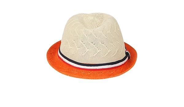 508733ea88c ILU Girl s Straw Fedora Sun Hat White and Orange  Amazon.in  Clothing    Accessories