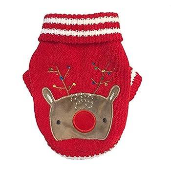 Chiot Chiens Vêtements,Costume de Noël pour Animaux de Compagnie Chenille Sweater Costume de Chiot Automne et Hiver,Pet Manteaux (L, Rouge)