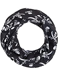 HeadLOOP- Braga para el cuello multi función de microfibra para niños, diseño de calavera pirata, color negro