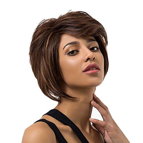 MagiDeal Mesdames Perruques Courte Frisée Couche Froncées de Cheveux Humains Synthétique avec Oblique Frange Postiche Pleines avec Capuchon, Peigne en acier et pince à cheveux