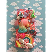 Samsung or I Phone decoden Kawaii phone case - Unicorns, flowers and rainbows. Coral whipped cream glue and sparkles.