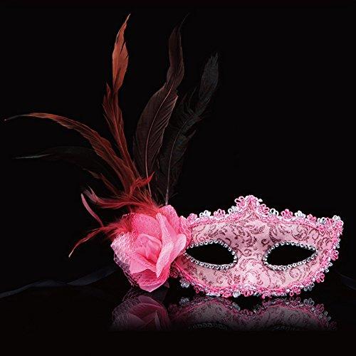 spritech (TM) Seite Rose Blumen mit Feder Halloween Dance Party Princess Venedig Maske Baby Pink (Baby-halloween-maske)