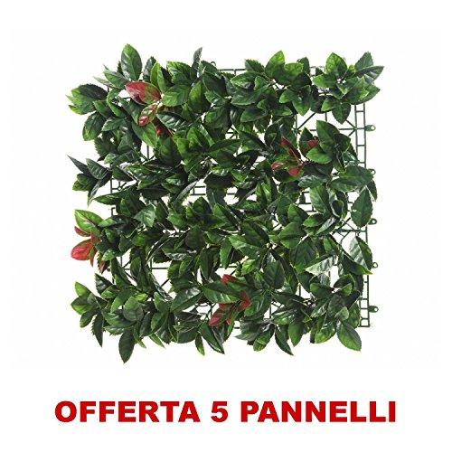 OFFERTA 5 PANNELLI SIEPE ARTIFICIALE PHOTINIA 10X100X100CM VERDE DECORO CASA GIARDINO