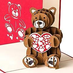 """Grußkarte""""Bärchen mit Herz"""" 3D Pop up Liebeskarte, Bär, Geburtskarte, Glückwunschkarte Hochzeitstag, handgefertigt, Geburtstagskarte, Hochzeitskarte"""