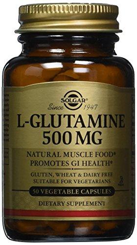 Solgar Amino Glutammina, 500 Integratore Alimentare per la Funzione Cognitiva, Memoria e Concentrazione - 50 Capsule Vegetali