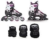Croxer 2in1 Schlittschuhe Inline Skates Inliner Raven Pulse Pink 40-43 (25,5-28cm) Verstellbar + Schützer Beetle Black M