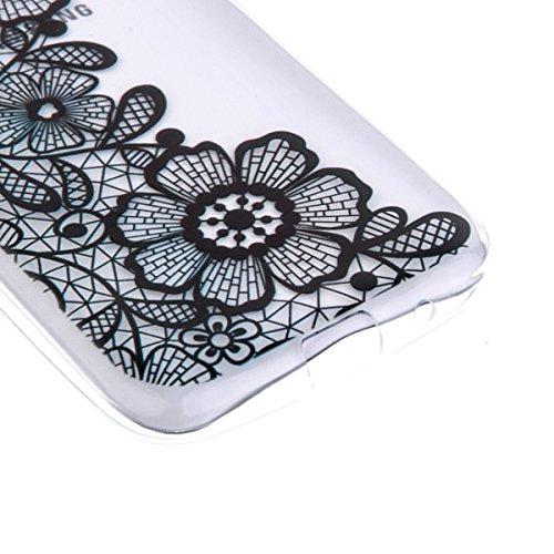 Ekakashop Transparente Flexible TPU Couqe pour Samsung Galaxy Core Prime SM-G360, Ultra Mince Doux Soft Silicone Protectrice Couverture Housse pour Galaxy Core Prime, Motifs de Henna Noir Flower Cas C Trois Fleurs