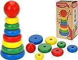 TOYS Holzspielzeug Stapelturm 8 tlg. aufeinander steckbare Ringe Farbiges Holz 17,5cm