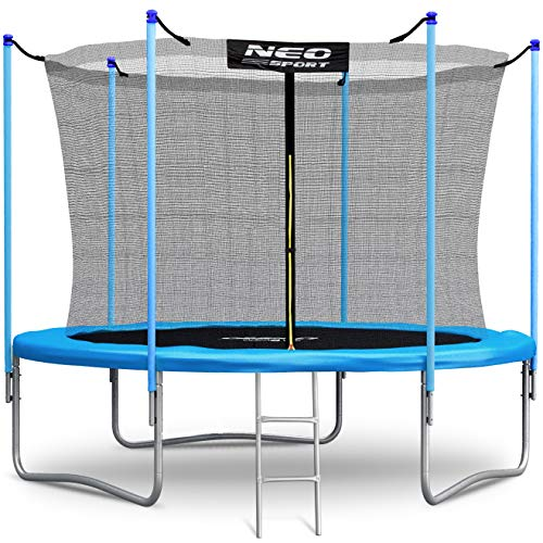 NeoSport Trampolin 244 cm (8 ft) mit Sicherheitsnetz Innennetz und Einstiegsleiter PRO Gartentrampolin
