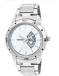 Matrix Silvermine Analog White Dial Stainless Steel Wrist Watch For Men And Boys- DD2-WH-ST