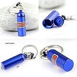 nabati Porte-clés original mini bonbonne de protoxyde d'azote NOS boîte à pilule stockage Turbo Porte-clés (Bleu 6cm de hauteur)