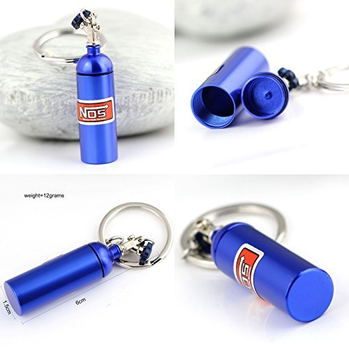 Nabati? Creative nueva nos-Llavero, diseño de bombona de óxido nitroso clave cadena anillo llavero Stash píldora caja de almacenamiento Turbo Llavero (6cm de altura), color azul