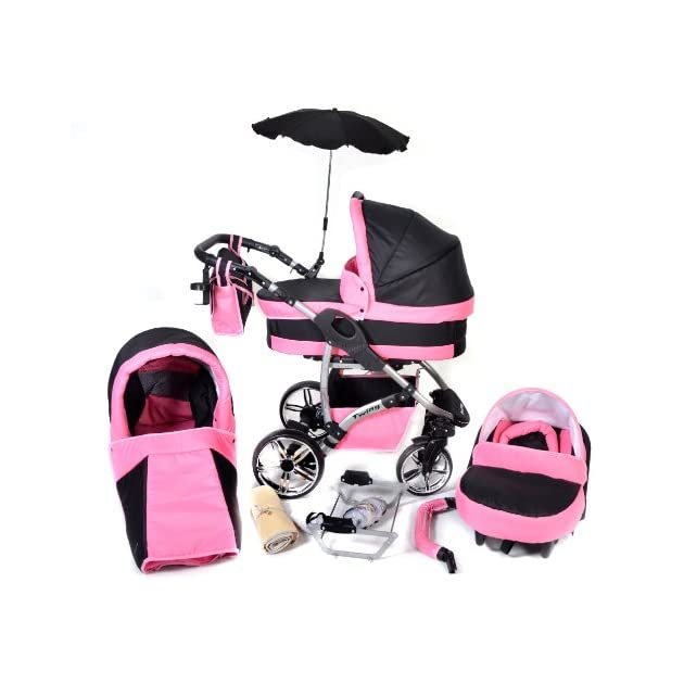Twing, 3-in-1 Travel System with Baby Pram with Car Seat, Pushchair & Accessories (3in1 Travel System -Baby tub, Sport seat, Car seat, Black & Pink)