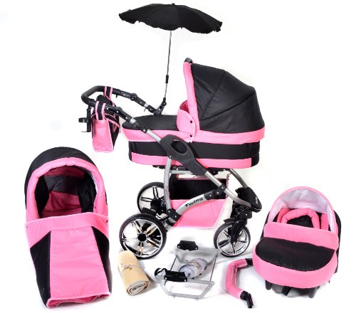 Twing, 3-in-1 Travel System with Baby Pram, Car Seat, Pushchair & Accessories (3in1 Travel System -Baby tub, Sport seat, Car seat, Black & Pink) 51UjFF10WoL
