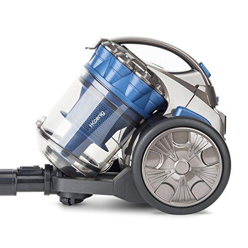 H. Koenig STC68 Aspirapolvere Multiciclonico compatto senza sacco + Speciale Animali domestici-Tripla A-leggero-maneggevole-potente, Blu