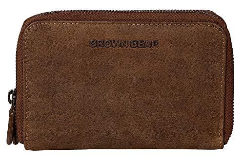 Brown Bear hochwertige Reißverschluss Geldbörse Damen Leder Braun Vintage RFID Schutz -