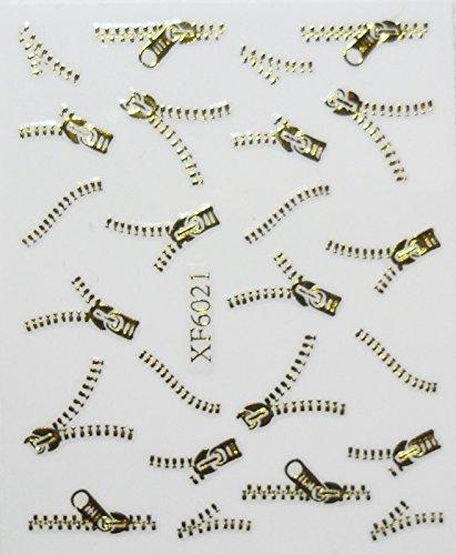 Nail art - Stickers autocollants - fermeture éclair dorée - 6021