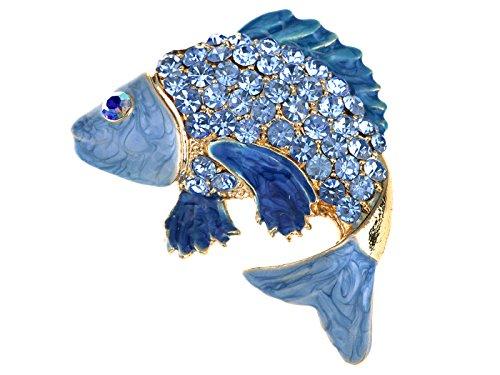 Alilang Damen Japanischer Koifisch Karpfen Gold Emaille Kristall Strass Ozeantier Revers Pin (Japanische Dame Adult Kostüm)