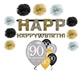 Feste Feiern Geburtstagsdeko Zum 90 Geburtstag I 16 Teile All in One Set Pompon Girlande Luftballon Gold Schwarz Silber Party Happy Birthday