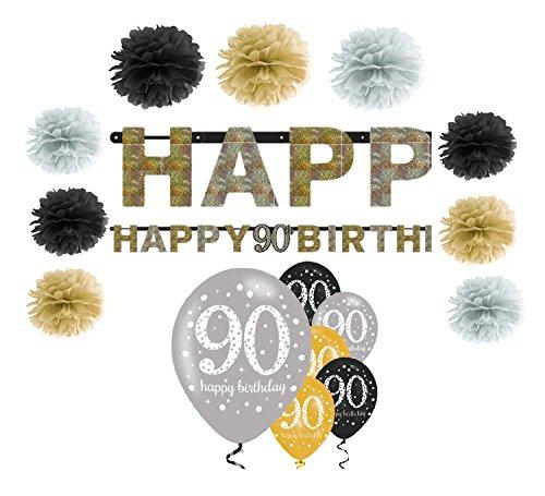 (Feste Feiern Geburtstagsdeko Zum 90 Geburtstag I 16 Teile All in One Set Pompon Girlande Luftballon Gold Schwarz Silber Party Happy Birthday)