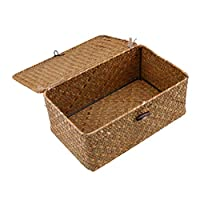 Esoes Wicker Storage Basket Woven Rattan Storage Box With Lids Seagrass Laundry Baskets Makeup Organizer For Bathroom, Living Room, Kitchen (M)