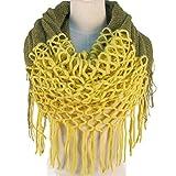TININNA Inverno Caldo uncinetto Lavorato a maglia Infinity loop nappe morbide scialle Sciarpe dell'involucro della Sciarpa per le donne ragazze Giallo