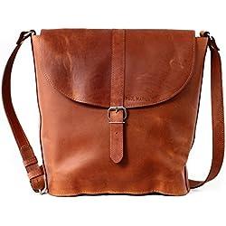 PAUL MARIUS bolsa de cuero bolso cubo estilo vintage L'AUTHENTIQUE (M)