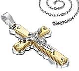 Veuer Schmuck für Herren Kreuz Hals-Kette Jesus Christus Edelstahl Gold Silber Geschenk zu Weihnachten für Männer, Freund, Ehe-Mann