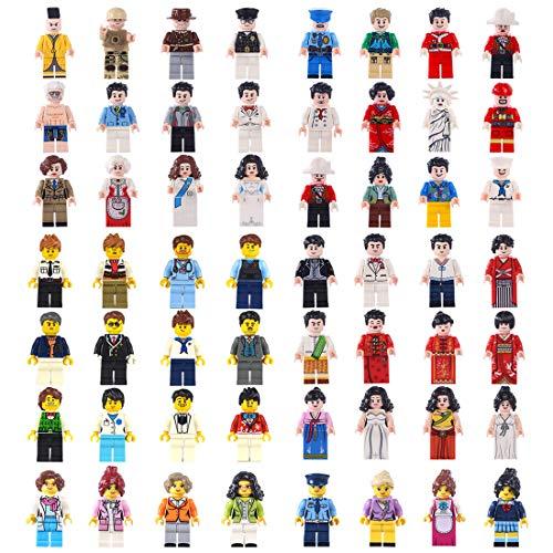NURICH 56St. Leute und Berufe Mini Figuren Set Menschen Berufsfiguren Minifiguren Satz Bausteine für Kinder (Lego Menschen)