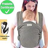 DearBaby | Fascia Porta Bambino - Ergonomica - Unisex - Marsupio Perfetto Per Neonati e Bebè fino a 15kg - Cotone Leggero e Traspirante - 0-36 mesi - grigia