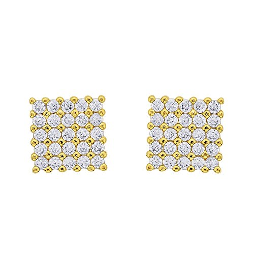 18k Gold Yo yo Honey Singh Style Inspired Square Cubic Zircons cz HQ Earrings Studs  available at amazon for Rs.495