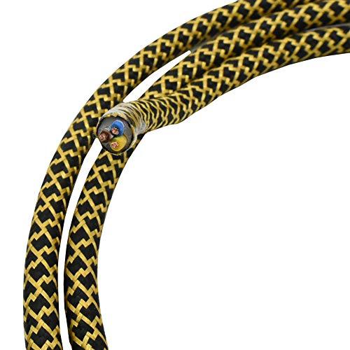 1,20 m cable textil negro oro barroco zigzag 3 hilos