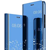Caler Samsung Galaxy A7 2018 Hülle Spiegel Cover Clear View Case Flip Schutzhülle handyhülle handyhuelle etui huelle Flip metallic Frau schal mit Tasche Ledertasche Shell (Blau)