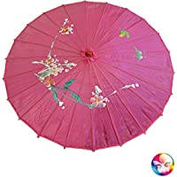 Ombrello Parasole cinese o giapponese circa 82 cm di diametro e 52 di  lunghezza rosa fucsia 357f180f308b