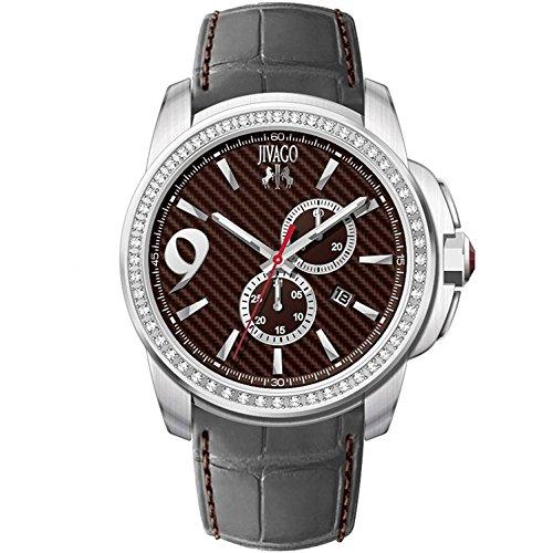 JIVAGO Men's GLIESE 43MM Leather Band Steel CASE Swiss Quartz Watch JV1536